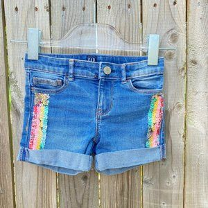 Gap Denim Sequin Stretch Midi Jean Shorts 5 Blue
